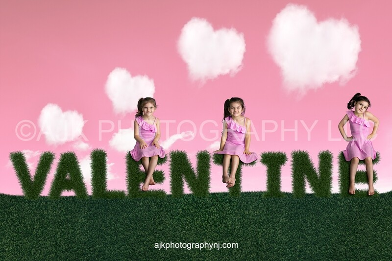 Valentines Day digital background, grass letters spelling valentine, heart shaped clouds, pink sky, digital backdrop