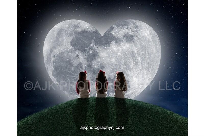 Valentines Day digital background, heart shaped moon, grassy hill, night sky, starry night, digital backdrop