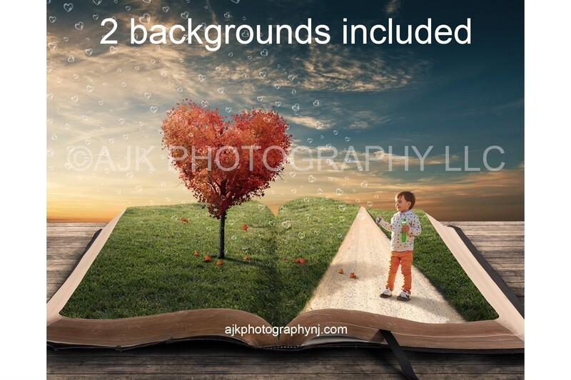 Valentines Day digital background, heart shaped tree and heart shaped bubbles, grass field and path inside giant open book, digital backdrop