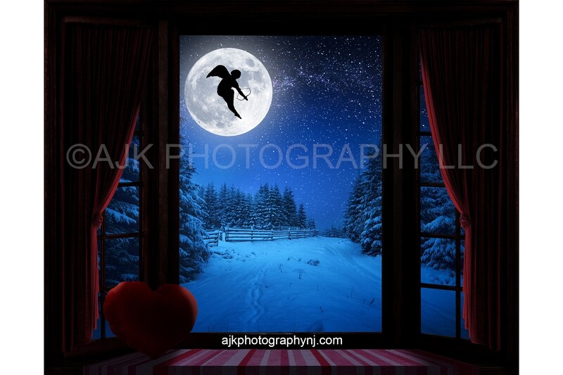 Valentines Day digital background, cupid flying across moon, large bay window, window seat, red heart pillow, red curtains, digital backdrop