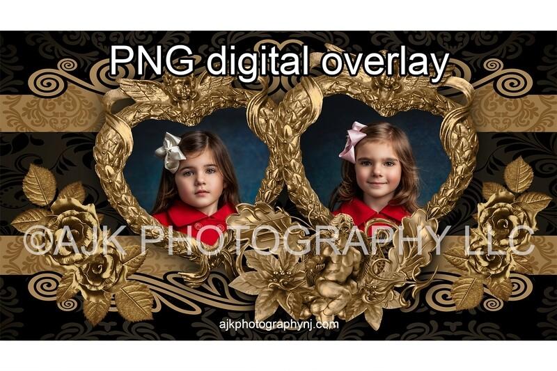 Valentine digital backdrop, gold heart shaped frame, PNG template, PNG overlay, digital background