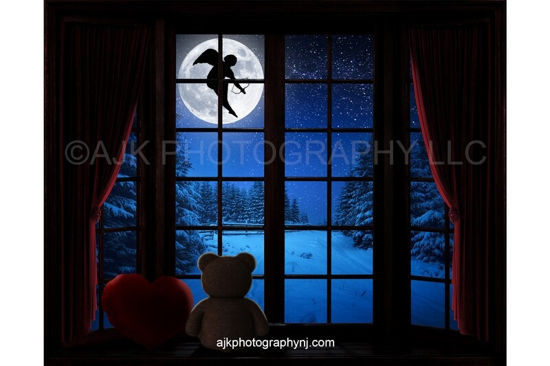 Valentines Day digital background, cupid flying across moon, large bay window, window seat, red heart pillow, red curtains, teddy bear digital backdrop version #4