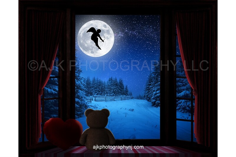 Valentines Day digital background, cupid flying across moon, large bay window, window seat, red heart pillow, red curtains, teddy bear digital backdrop version #3