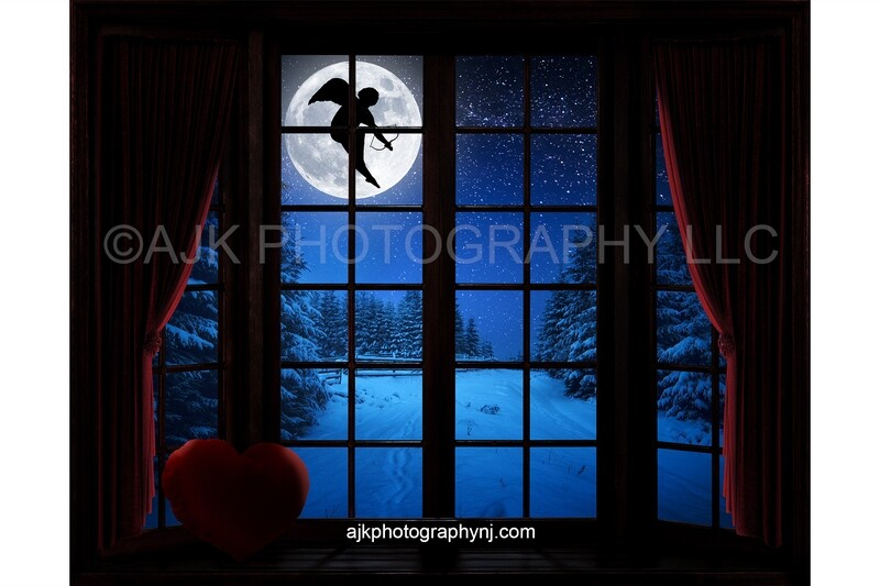 Valentines Day digital background, cupid flying across moon, large bay window, window seat, red heart pillow, red curtains, digital backdrop version #2