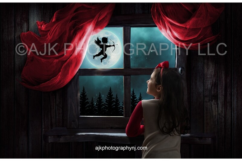 Valentines Day digital background, cupid flying across moon over the woods at night, red drapes, Valentines window, digital backdrop