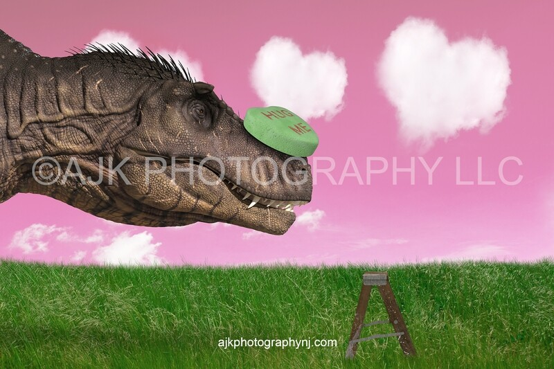 Valentines Day digital background, T-Rex with candy heart on nose, step stool in field, pink sky and heart clouds, dinosaur digital backdrop