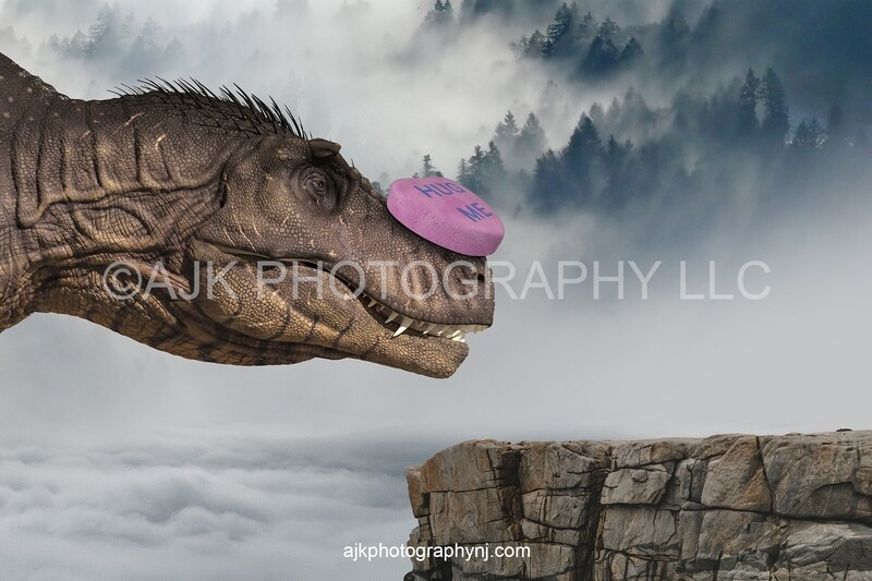 Valentines Day digital background, T-Rex with candy heart on nose, step stool in field, blue sky and heart clouds, dinosaur digital backdrop