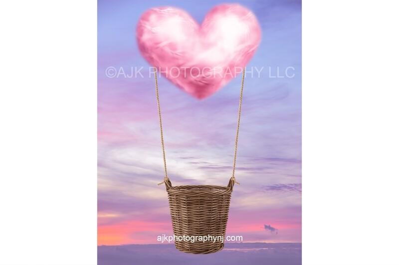 Valentine digital backdrop, pink heart shaped cloud, hot air balloon, purple sky, wicker basket, digital background
