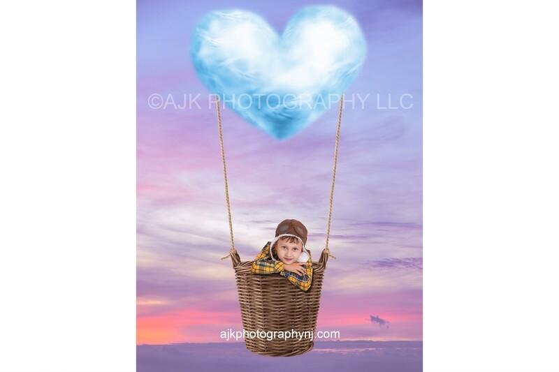 Valentine digital backdrop, blue heart shaped cloud, hot air balloon, purple sky, wicker basket, digital background