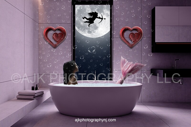 Valentines Day window digital backdrop, mermaid digital backdrop, cupid in front of moon, pink tail, floating bubbles, digital background