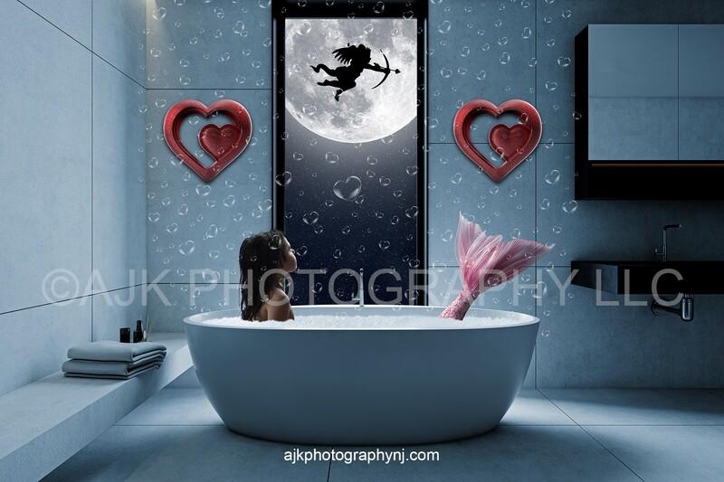Valentines Day window digital backdrop, mermaid digital backdrop, cupid in front of moon, pink tail, floating bubbles, blue bathroom, digital background