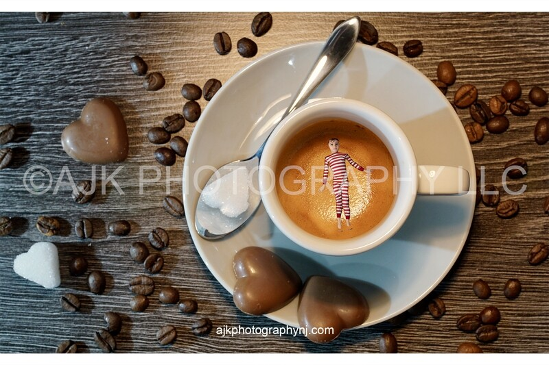 Valentines Day digital background, coffee mug surrounded by chocolate hearts, heart shaped sugar cube and coffee beans, digital backdrop