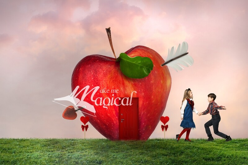 2x Valentines apple heart house digital backdrop by Makememagical, Valentines digital background, Heart shape red apple overlay png included