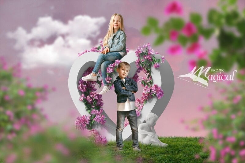 Valentines Day digital backdrop heart shaped statue covered in pink flowers with stone cherub cupid in a pretty floral garden Makememagical