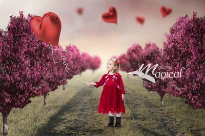 Valentines Day digital backdrop Heart shaped pink trees with red heart shaped balloon and Love balloon string by Makememagical background