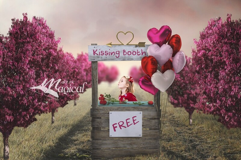 Valentines Day Kissing Booth digital backdrop with heart balloons and red roses by Makememagical Digital background for valentines day