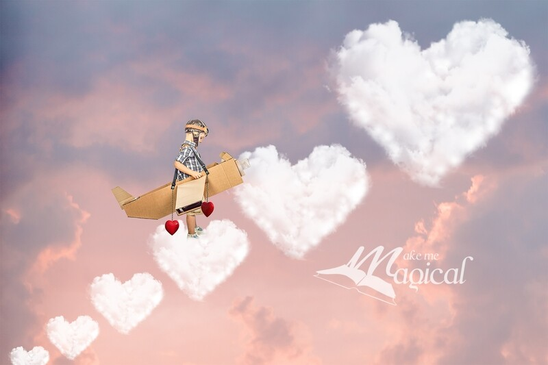 Valentines Day digital backdrop Heart shaped clouds, heart cloud steps in the sky digital background by Makememagical