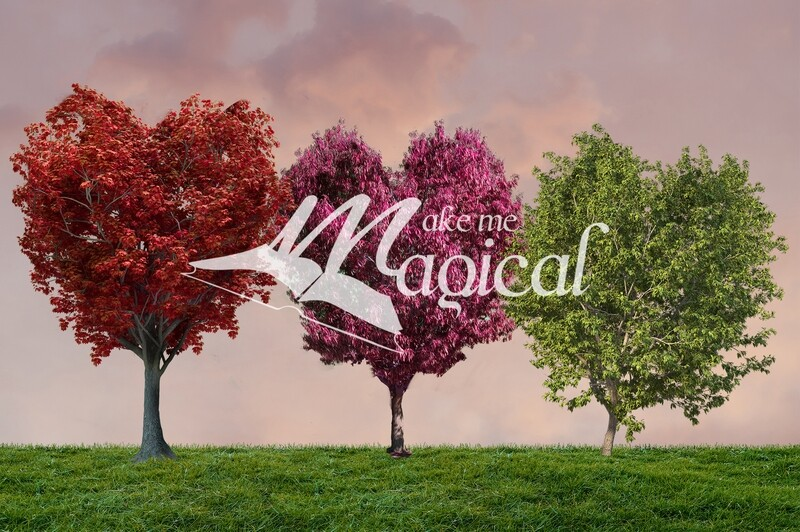 Valentines Day digital overlay, Heart shape tree PNG x 3, green, red, pink painterly heart trees by Makememagical, digital overlays