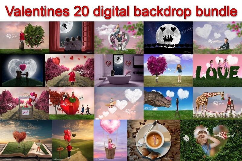 Valentine's Day digital backdrop bundle pack