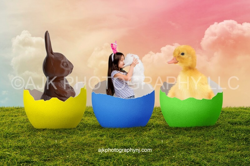 Easter digital background, chocolate bunnies and yellow chick inside cracked colored eggs, grassy field, pink sky digital backdrop