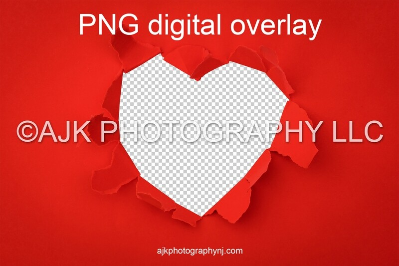 Valentines Day digital background, heart shaped hole in red paper, PNG digital overlay, digital backdrop