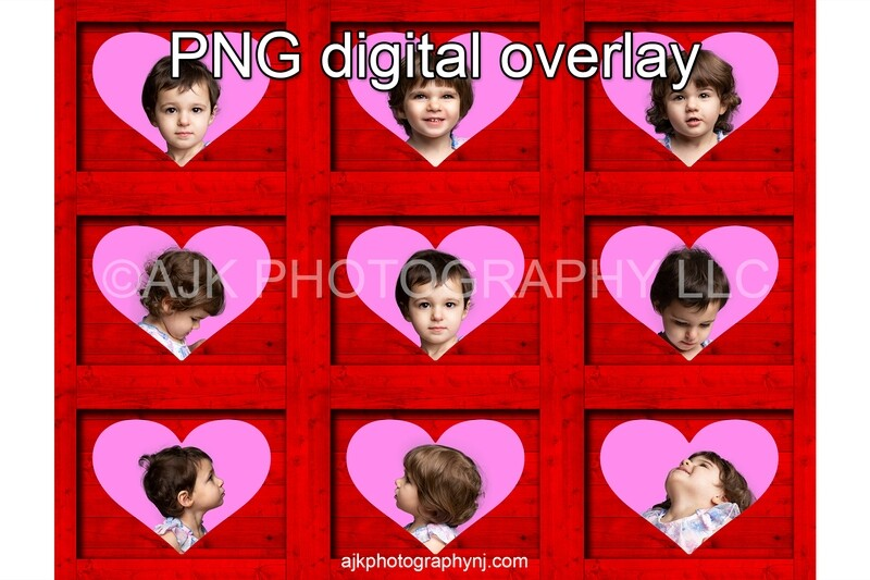 Valentines Day digital background, heart shaped holes in 9 red boxes, PNG digital overlay, box overlay, Valentine PNG, digital backdrop