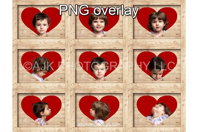 Valentines Day digital background, heart shaped holes in 9 boxes, PNG digital overlay, box overlay, Valentine PNG, digital backdrop