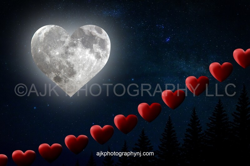 Valentines Day digital background, heart staircase, heart steps, heart shaped moon, night sky, stars, digital backdrop