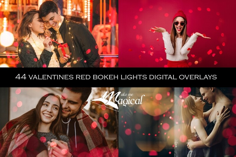 Valentines red heart bokeh lights for Photoshop. Red bokeh digital overlays. Heart shaped bokeh overlays by Makememagical.