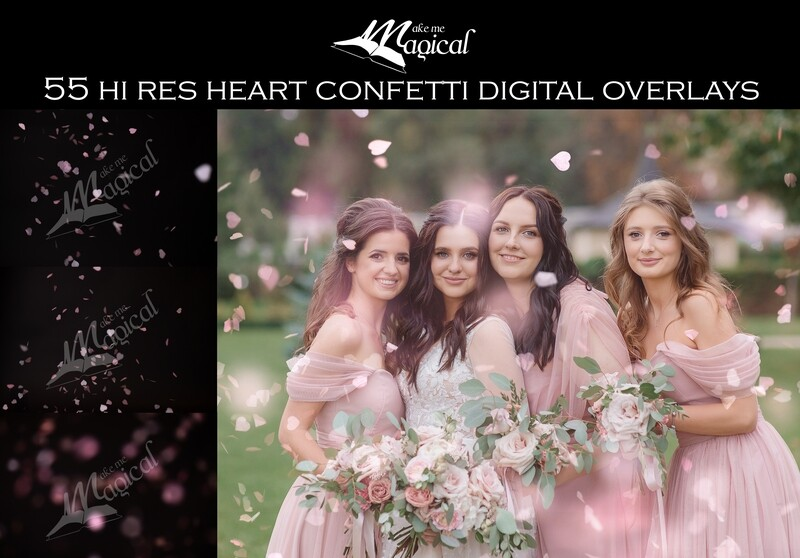 55 Hi Res Jpeg Heart Confetti digital overlays by Makememagical. Wedding confetti photoshop digital overlays, Valentines Day pink hearts