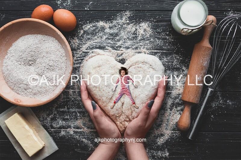 Valentine digital backdrop, heart shaped dough, flour shaped dough, Valentines Day digital background