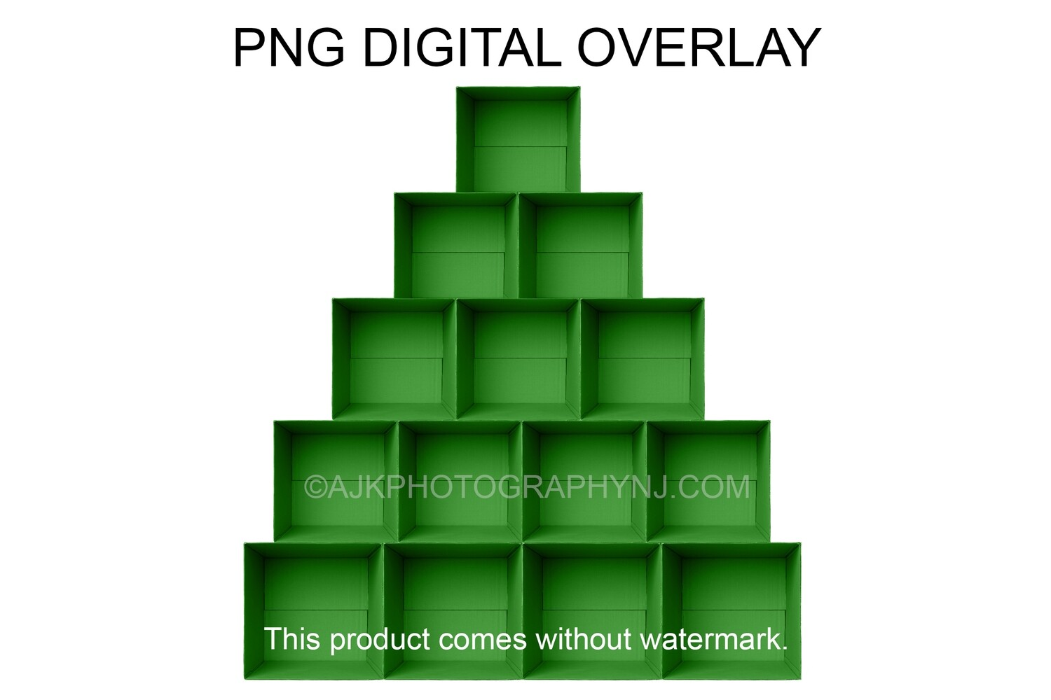 PNG overlay, 14 green empty cardboard boxes template, Christmas tree shaped boxes, PNG Digital Overlay