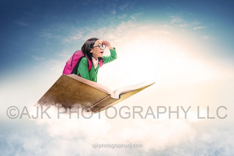 Magic flying book, digital background, book in clouds digital backdrop