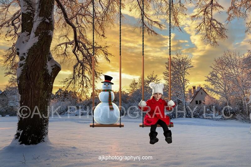 Snowman and child on swings winter digital backdrop