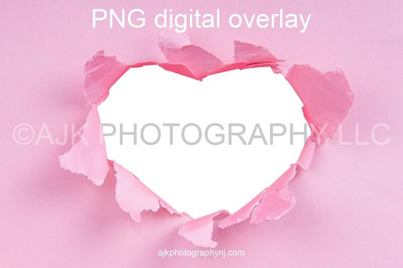 Valentines Day digital background, heart shaped hole in pink paper, PNG digital overlay, digital backdrop