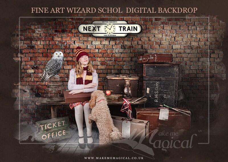 Magical Wizard train station platform digital backdrop by Makememagical. World book day digital backdrop. Train platform digital backdrop