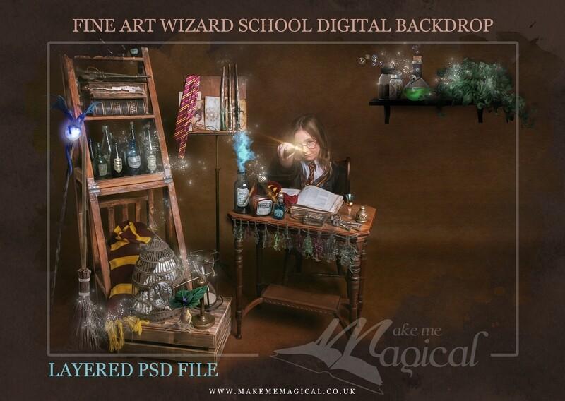 Magical Wizard desk digital backdrop by Makememagical. Wizard school digital background Layered PSD. World book day digital backdrop.