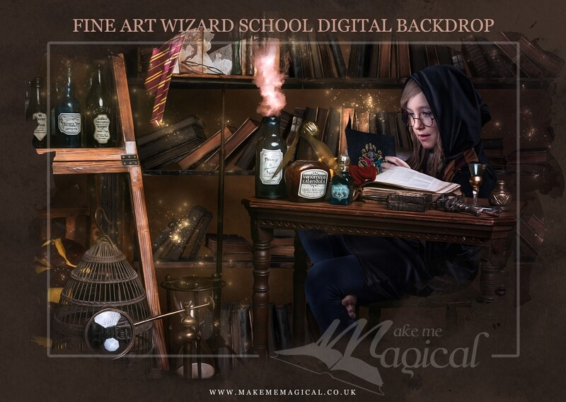Magical Wizard School Desk digital backdrop by Makememagical. Wizard desk digital background. Wizard photo for Photoshop, World book day