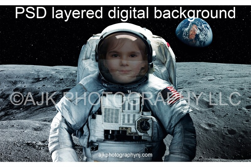 Astronaut digital background, one astronaut in outer space on the moon, with the Earth and stars in the background, digital backdrop