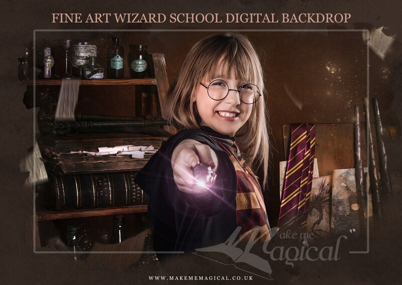 Magical Wizard spell room digital backdrop by Makememagical. Wizard school digital background. World book day digital backdrop.