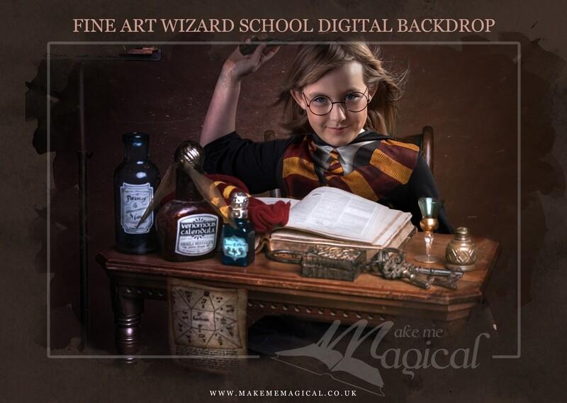 Magical Wizard desk digital backdrop by Makememagical. Wizard school digital background. World book day digital backdrop.