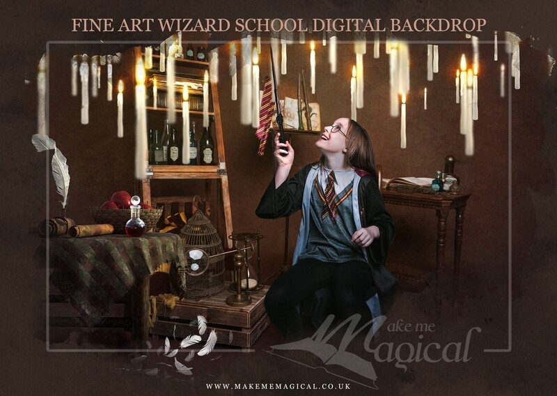 Magical Wizard digital backdrop with floating candles by Makememagical