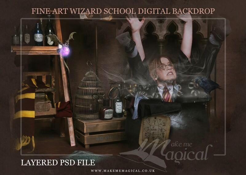 Magical Wizard cauldron digital backdrop by Makememagical. Wizard school digital background Layered PSD. World book day digital backdrop.