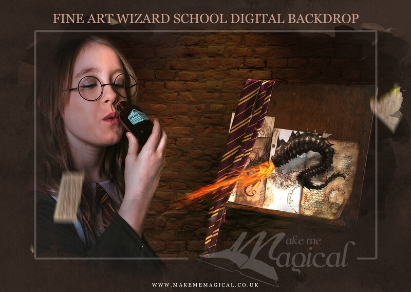 Magical Wizard dragon spell stand digital backdrop by Makememagical. Wizard school digital background. World book day