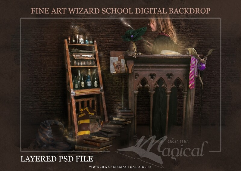 Magical Wizard book stand backdrop by Makememagical. Wizard school digital background Layered PSD. World book day digital backdrop.