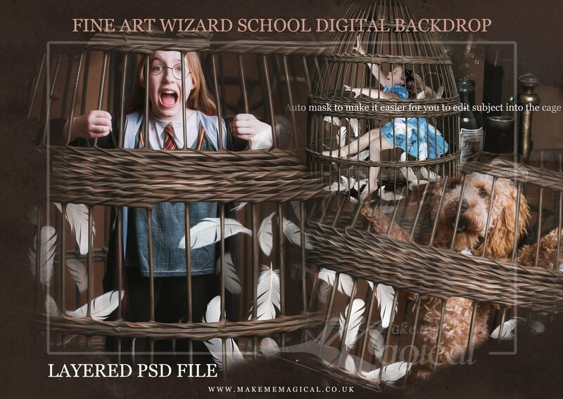 Magical Wizard owl bird cage digital backdrop by Makememagical. Wizard school digital background Layered PSD. World book day backdrop.