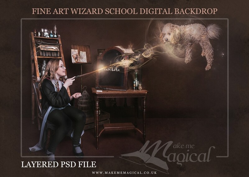 Magical Wizard spell board digital backdrop by Makememagical. Wizard school digital background Layered PSD. World book day backdrop.