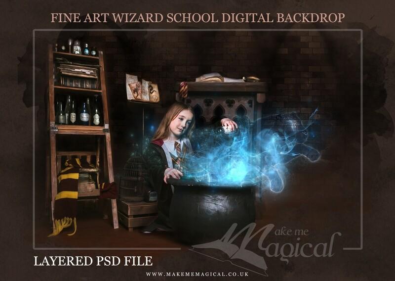 Magical Wizard cauldron with blue spirit animal patronus digital backdrop by Makememagical. Wizard school digital background Layered PSD.