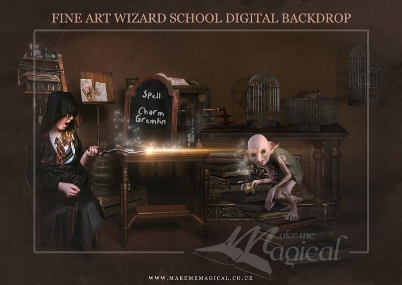 Magical Wizard Charm Gremlin digital backdrop by Makememagical. Wizard school digital background. World book day backdrop.