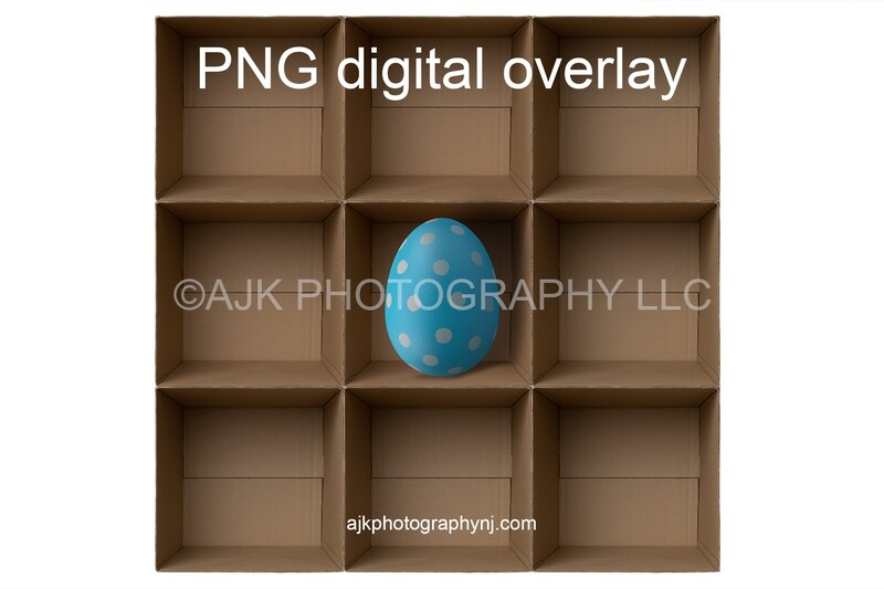 PNG overlay, 9 empty cardboard boxes template, giant Easter egg in center, Easter boxes, PNG Digital Overlay